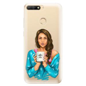 Odolné silikónové puzdro iSaprio - Coffe Now - Brunette - Huawei Y6 Prime 2018