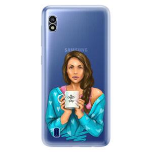 Odolné silikónové puzdro iSaprio - Coffe Now - Brunette - Samsung Galaxy A10