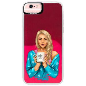 Neónové púzdro Pink iSaprio - Coffe Now - Blond - iPhone 6 Plus/6S Plus