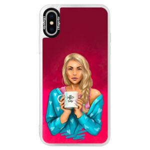Neónové púzdro Pink iSaprio - Coffe Now - Blond - iPhone X