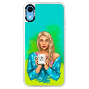 Neónové puzdro Blue iSaprio - Coffe Now - Blond - iPhone XR