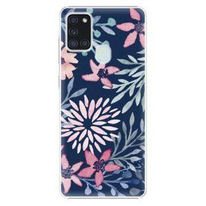 Plastové puzdro iSaprio - Leaves on Blue - Samsung Galaxy A21s