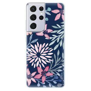 Odolné silikónové puzdro iSaprio - Leaves on Blue - Samsung Galaxy S21 Ultra