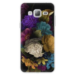 Plastové puzdro iSaprio - Dark Flowers - Samsung Galaxy J3