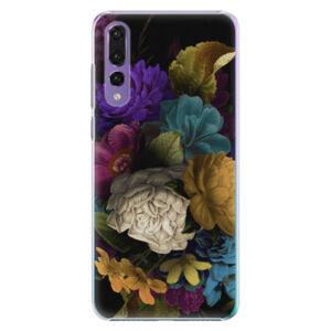 Plastové puzdro iSaprio - Dark Flowers - Huawei P20 Pro