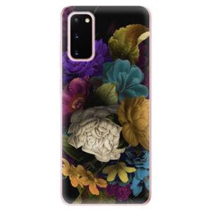 Odolné silikónové puzdro iSaprio - Dark Flowers - Samsung Galaxy S20