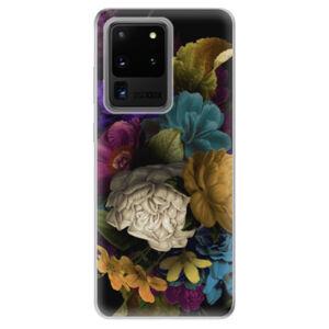 Odolné silikónové puzdro iSaprio - Dark Flowers - Samsung Galaxy S20 Ultra