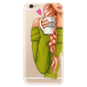 Odolné silikónové puzdro iSaprio - My Coffe and Redhead Girl - iPhone 6/6S