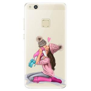 Silikónové puzdro iSaprio - Kissing Mom - Brunette and Girl - Huawei P10 Lite