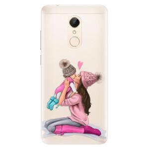 Silikónové puzdro iSaprio - Kissing Mom - Brunette and Girl - Xiaomi Redmi 5