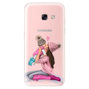 Odolné silikónové puzdro iSaprio - Kissing Mom - Brunette and Girl - Samsung Galaxy A3 2017