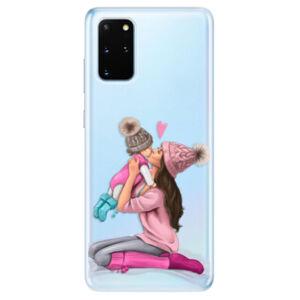 Odolné silikónové puzdro iSaprio - Kissing Mom - Brunette and Girl - Samsung Galaxy S20+