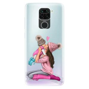 Odolné silikónové puzdro iSaprio - Kissing Mom - Brunette and Girl - Xiaomi Redmi Note 9