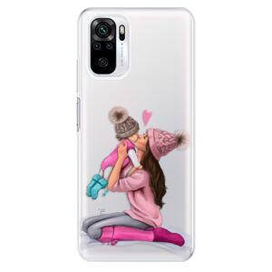 Odolné silikónové puzdro iSaprio - Kissing Mom - Brunette and Girl - Xiaomi Redmi Note 10 / Note 10S