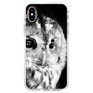 Silikónové púzdro Bumper iSaprio - BW Owl - iPhone XS