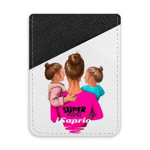 Pouzdro na kreditní karty iSaprio - Super Mama - Two Girls - tmavá nalepovací kapsa
